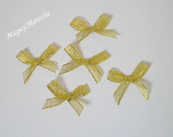 Set of 5 gold glittery organza ribbon bow