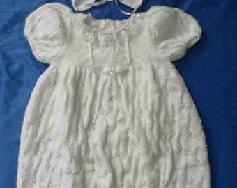 Hand-knitted set of baptism 6 months