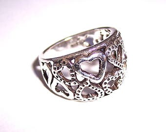 Solid Sterling Silver Multi-Heart Ring, Size 8!
