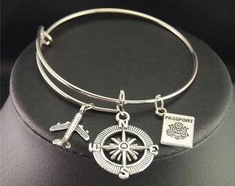 Silver Wanderlust Bangle Version 1 *FREE SHIPPING*Travel Jewellery, Travel Gift, Wanderlust Jewellery, Adventure Bracelet