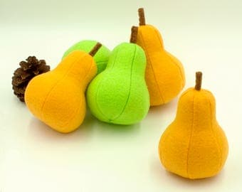 Felt food pear Play food Pretend food for play kitchen toy  pear Felt fruit educational toy plush learning game Gift for baby