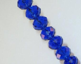 10 pearls 8mm iridescent Navy Blue swarovski crystal