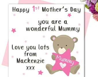 1st Mother's Day Card / First Mothers Day Card / Personalised Mother's Day card