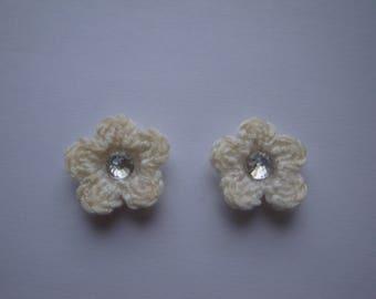 Set of 2 small flowers Ecrues - 2.5 cm