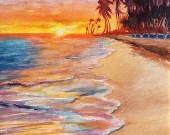 Puerto Rico Tropical Beach Original Watercolor Painting, Sunset Morning Watercolor Painting, Ocean Painting, Seascape FRAMED