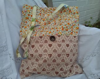 Mismatched tote shopping bag. Handmade. Floral teddy bears.