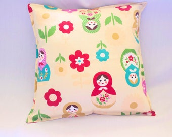 Matryoshka/Babushka Doll Cushion Cover - Cream or Brown