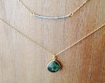 Labradorite necklace/ labradorite pendant necklace/ labradorite charm necklace