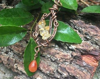 Citrine and Carnelian, Wire Wrapped Bead Drop