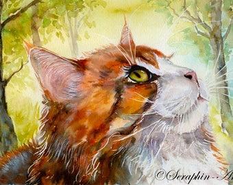 Ginger Tabby Cat Watercolor Fine Art Print