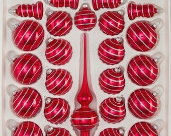 "Navidacio 39pcs Christmas Balls Ornaments Set ""Highgloss Red Candy"" Silver Lines New"