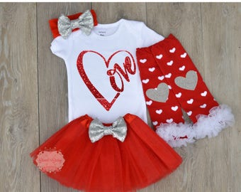 baby valentines outfit baby girl tutu outfit red glitter valentines day outfit first