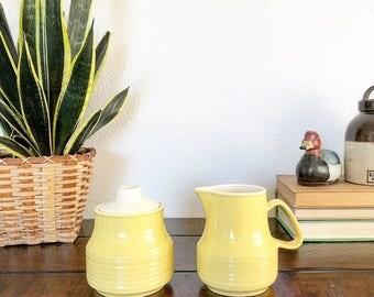 Vintage Retro Boho Style Yellow Coffee or Tea Creamer and Sugar Set