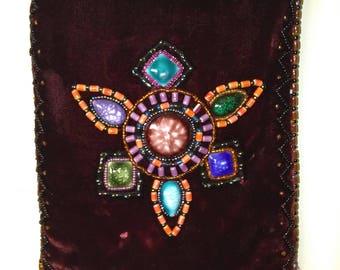 Burgandy Velvet Bohemian Crystal Beaded Purse