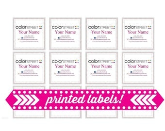 Printed Color Street Stylist Labels, Stylist Contact Information, Contact Stickers, 48 Labels