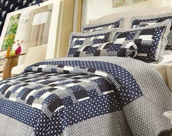 Brand new 6 pcs patchwork quilt coverlet blue country sham