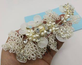 Bridal hair vine Wedding hair piece Baby breath hair piece Pearl Headpiece Hair comb BH1