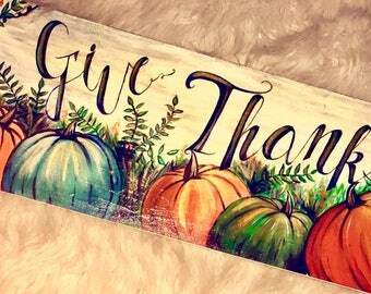 Give Thanks Hand Painted Wooden Picture