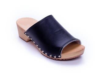 Leather Sandals black Clogs Sandals Sandals Wooden clogs Handmade Sandal Swedish clogs slippers mule sweden leather clogs summer shoes