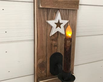 Rustic wall candle holder, Wall Decor, RUSTIC CANDLE SCONCES