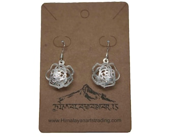Sterling Silver Plated Three-Dimensional Puffed Earrings