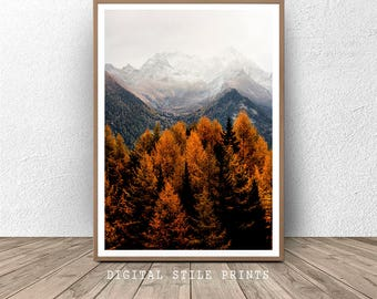 Forest Print, Mountain, Nature Prints, Forest Wall Art, Woodland Prints, Trees, Modern, Forest Art, Printable Art, Digital Prints, Art Print