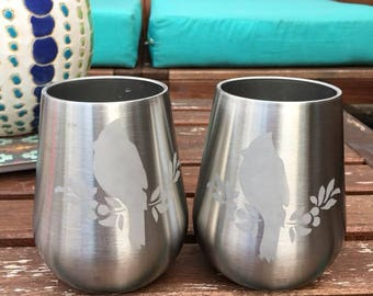 Etched Stainless Wine glass