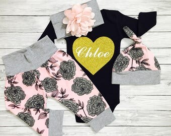 Baby Girl Coming Home Outfit, Personalized Newborn Outfit, Baby Girl Coming Home Outfit Winter, Newborn Outfit, Newborn Girl