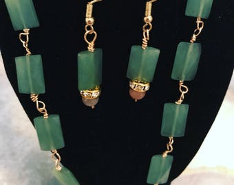 Aventurine stone necklace and earrings