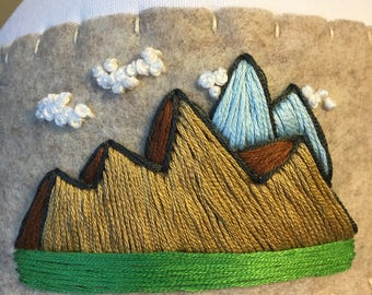 Handmade Embroidered Trucker Hat : Mountain Series, hats for boyfriend, gifts for him, mountain art, clouds, woodsy, nature lover, guy gifts