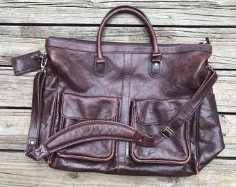 WILSONS LEATHER Pelle Studio Brown Leather Large Carry On Travel Shoulder Messenger Bag