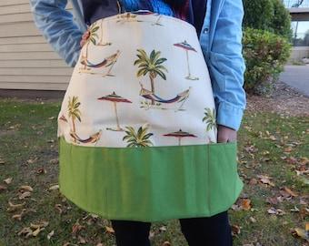 Palm Tree & Green Half Apron - 3 section pocket