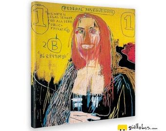 Modern paintings-Jean Michel Basquiat-Monalisa Earrings-Yellow BUS