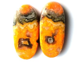 Bumble Bee Jasper Oval Pair Cabochon Size-28x13 MM Natural Bumble Bee Jasper, AAA,Loose Gemstone, Smooth Cabochons.