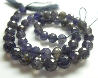 Iolite  Faceted Bolls , Beads, Size- 7x9 MM, Natural Iolite  Faceted Bolls, Beads, AAA Quality, Bead, Natural Gemstone, 15.5 INCH