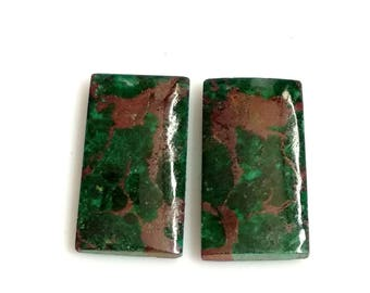 Chrysocolla Rectangal Pair Cabochon,Size- 20x11 MM, Natural Chrysocolla, AAA,Quality  Loose Gemstone, Smooth Cabochons.
