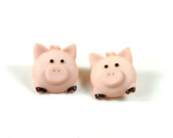 Pig earrings, Pink pig studs, Pink earrings, Pig jewelry