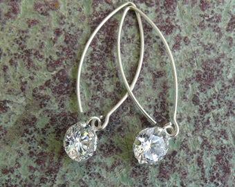 Dangle CZ Earrings, long earrings, silver earrings, dangle earrings, ER-012