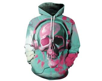 Skull Hoodie, Skull, Skull Hoodies, Skull Prints, Scalp Hoodie, Gothic, Skeleton, Skulls, Scalp, Hoodie, 3d Hoodie, 3d Hoodies - Style 2