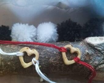 Valentine's day bracelet ** Wooden bracelet ** Couple bracelet ** Fir Wood Bracelet ** Heart Bracelet **