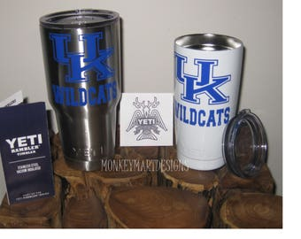 "YETI RAMBLER custom  ""U K Wildcats"" logo,20oz Yeti or 30oz Yeti ,Personalized Yeti tumbler cup powder coated white ,stainless silver"
