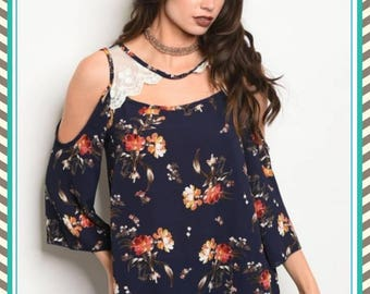 Blue off the shoulder shirt. FREE SHIPPING!