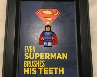 Superman, Lego, Superhero, lego minifigures, for room decor, wall display, wall art, for birthday inspired by LEGO