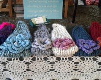 knitted headwraps with flowers