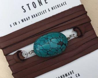 Turquiose  Leather and Gemstone Wrap Bracelet/Necklace