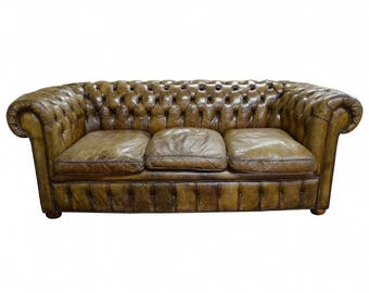 Vintage Chesterfield Sofa Etsy - Leather chesterfield chairs
