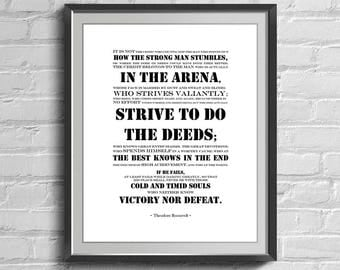 Man in the Arena, The Man in the Arena Print, Theodore Roosevelt Quote, Inspirational Quotes, Printable Wall Art, Prints Quotes, Wall Decor