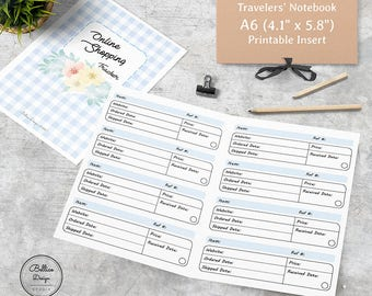 A6 Size, Printable Insert Travelers Notebook, A6 TN Inserts, A6 Planner Inserts, Online Shopping Planner, Floral Planner, Tracking Inserts