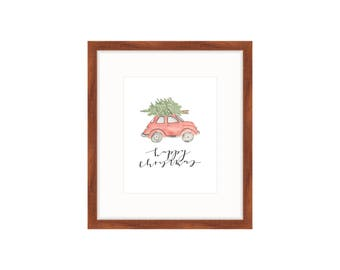 Christmas Print | Old-Fashioned Car Print | Watercolor Print | Happy Christmas Print
