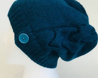 Caribbean Blue Slouchy Hat with Cable Detail